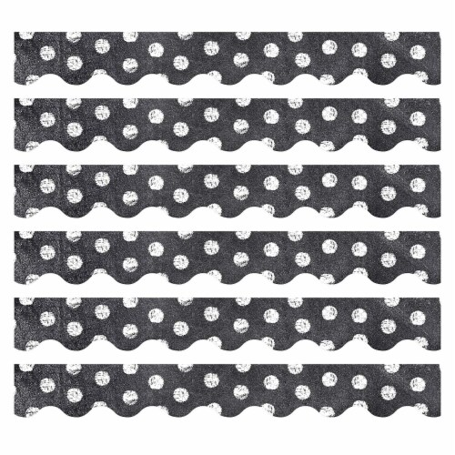 Chalk It Up! Dots on Chalkboard! White Border, 35 Feet Per Pack, 6 Packs Perspective: front