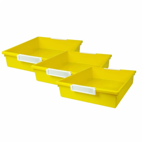 Tattle® Tray with Label Holder, 6 QT, Yellow, Pack of 3 Perspective: front