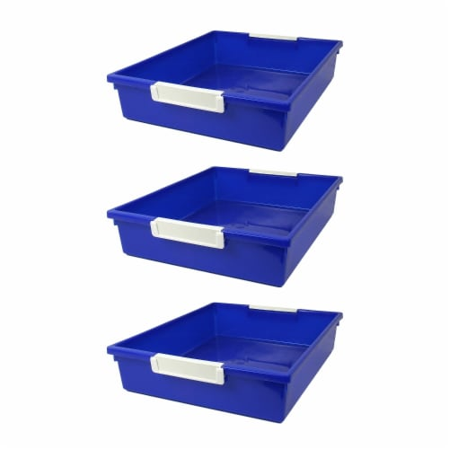 Tattle® Tray with Label Holder, 6 QT, Blue, Pack of 3 Perspective: front