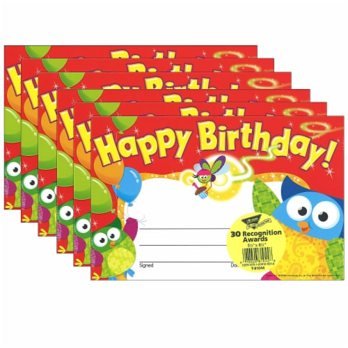 Trend Enterprises T-81044-6 Happy Birthday Owl Stars Recognition Awards - Pack of 6 Perspective: front
