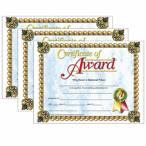 Certificate of Award, 8.5  x 11 , 30 Per Pack, 3 Packs Perspective: front