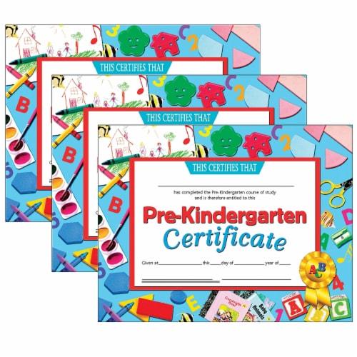 Pre-Kindergarten Certificate, 8.5  x 11 , 30 Per Pack, 3 Packs Perspective: front