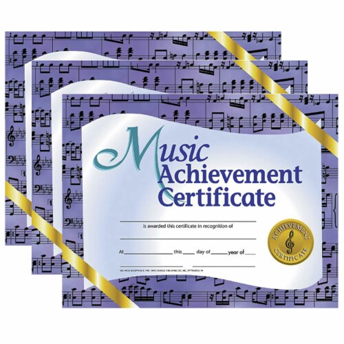 Music Achievement Certificate, 8.5  x 11 , 30 Per Pack, 3 Packs Perspective: front