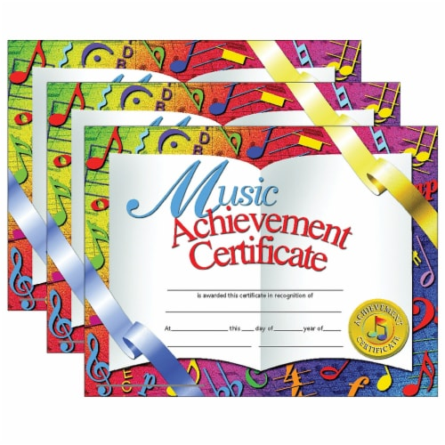 Music Achievement Certificate, 30 Per Pack, 3 Packs Perspective: front
