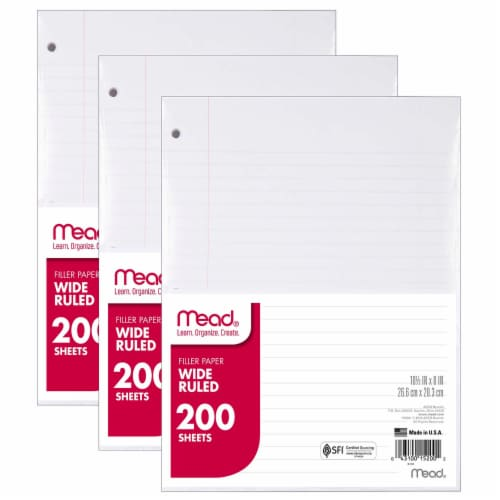 Mead® Wide Ruled Notebook Filler Paper (3 Pack) Perspective: front