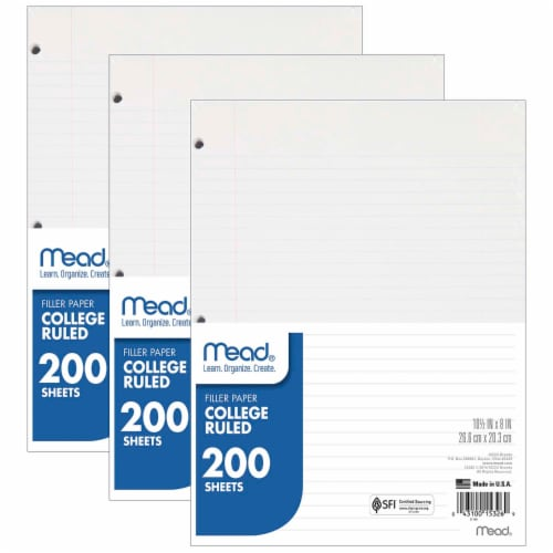 Mead® College Ruled Notebook Filler Paper (3 Pack) Perspective: front