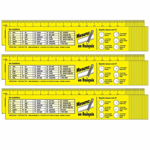 French Reference Rulers, 32 Per Set, 3 Sets Perspective: front