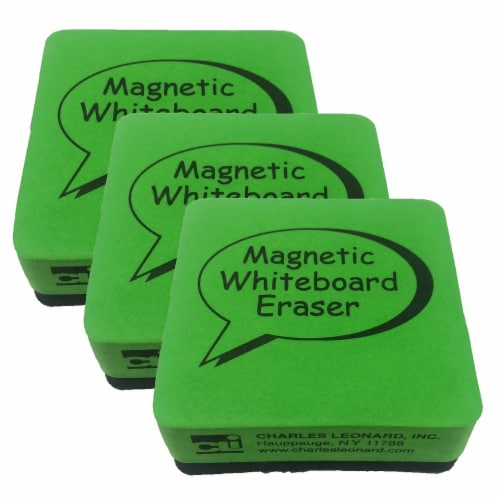 Dry Erase Whiteboard Magnetic Eraser, 2 x 2 Inch, Green/Black, 12 Per Pack, 3 Packs Perspective: front