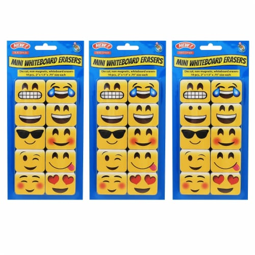 Non-Magnetic Mini Whiteboard Erasers, Emojis, 10 Per Pack, 3 Packs Perspective: front