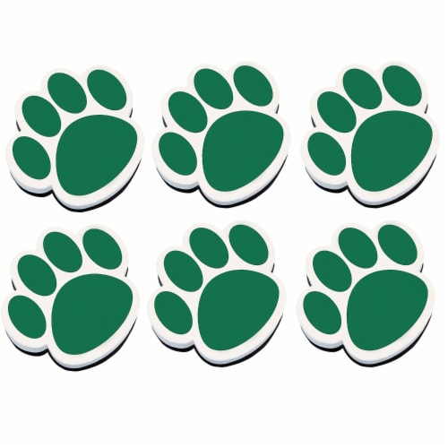 Magnetic Whiteboard Eraser, Green Paw, Pack of 6 Perspective: front