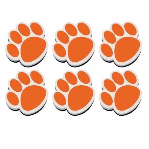Magnetic Whiteboard Eraser, Orange Paw, Pack of 6 Perspective: front