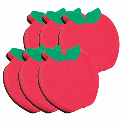 Magnetic Whiteboard Eraser, Apple, Pack of 6 Perspective: front