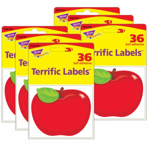 Shiny Red Apple Terrific Labels™, 36 Per Pack, 6 Packs Perspective: front