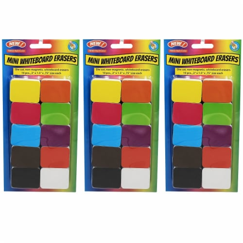 Non-Magnetic Mini Whiteboard Erasers, Assorted, Pack of 30 Perspective: front
