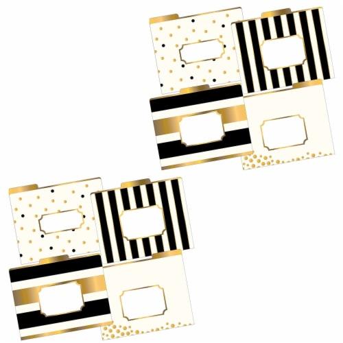 Multi-Design File Folder Set, Gold, Letter, 12 Per Pack, 2 Packs Perspective: front