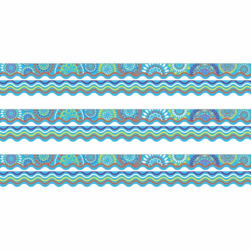 Double-Sided Border, Scalloped Edge, Moroccan Turquoise, 39 Feet Per Pack, 3 Packs Perspective: front