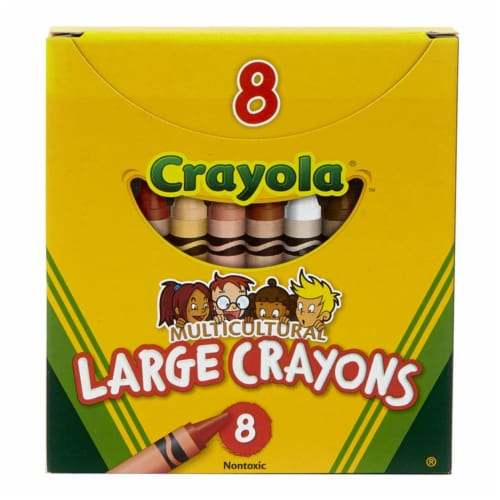 Crayola BIN080W-12 Multicultural Crayons Large - 8 Per Pack - Box of 12 Perspective: front