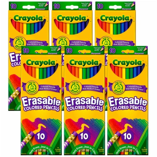 Erasable Colored Pencils, 10 Per Box, 6 Boxes Perspective: front