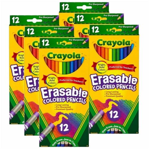 Erasable Colored Pencils, 12 Per Box, 6 Boxes Perspective: front