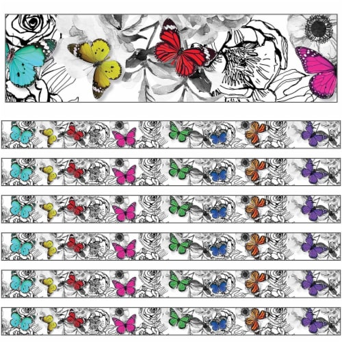 Woodland Whimsy Butterflies Straight Border, 36 Feet Per Pack, 6 Packs Perspective: front
