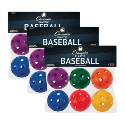 Plastic Baseballs, 6 Per Set, 3 Sets Perspective: front