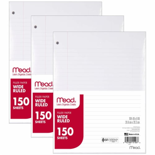 Mead® Wide Ruled Notebook Filler Paper - 150 Sheets Perspective: front