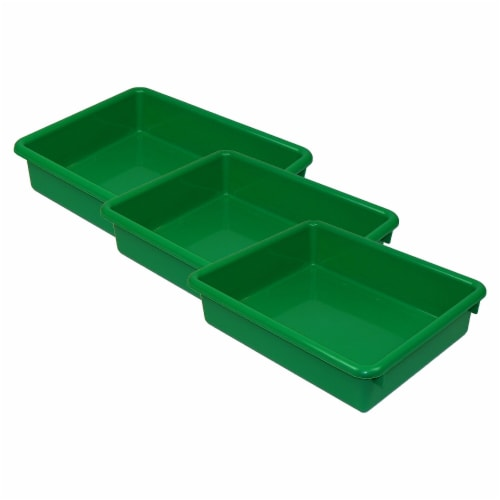 Stowaway® 3  Letter Tray no Lid, Green, Pack of 3 Perspective: front