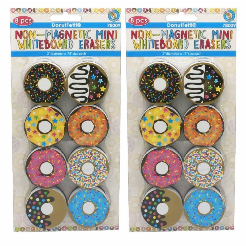 Non-Magnetic Mini Whiteboard Erasers, DonutFetti®, 8 Per Pack, 2 Packs Perspective: front
