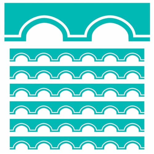 Simply Stylish Turquoise and White Awning Scalloped Border, 39 Feet Per Pack, 6 Packs Perspective: front