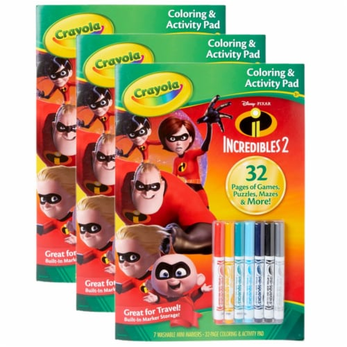 Coloring & Activity Pad w/Markers, Incredibles 2, Pack of 3 Perspective: front