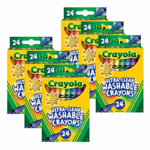 Crayola BIN526924-6 Ultra-Clean Washable Crayons, Regular Size - 24 Count - 6 per Pack Perspective: front