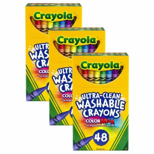 Crayola BIN526948-3 Ultra-Clean Washable Crayons, Regular Size - 48 Count - 3 per Pack Perspective: front