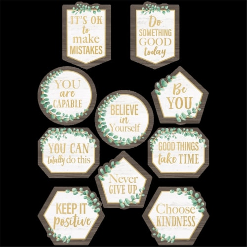 Teacher Created Resources TCR8464-3 Eucalyptus Positive Sayings Accent Chart - Pack of 3 Perspective: front