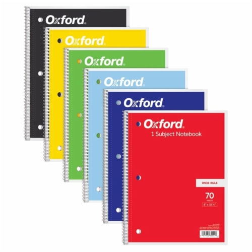 Tops Products TOP65002-6 70 Sheets Wide Rule Oxford 1 Subject Notebook - 6 Each Perspective: front