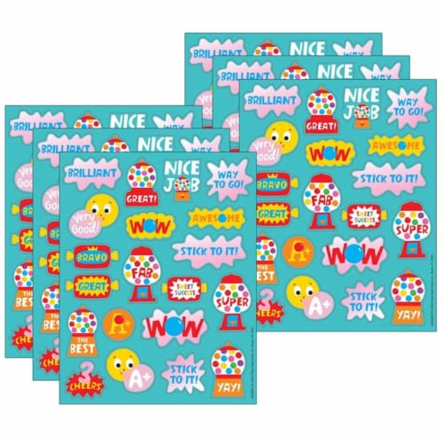 Bubblegum Scented Stickers, 80 Per Pack, 6 Packs Perspective: front