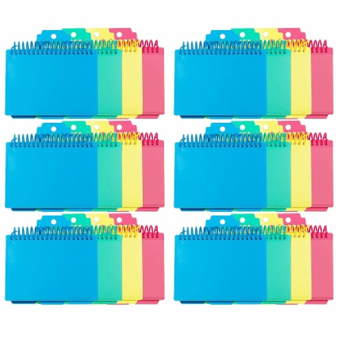 Spiral Bound Index Card Notebook with Index Tabs, Assorted Tropic Tones Colors, Pack of 6 Perspective: front