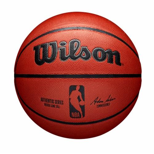Wilson Sporting Goods NBA Authentic Indoor Basketball - Orange/Black Perspective: front