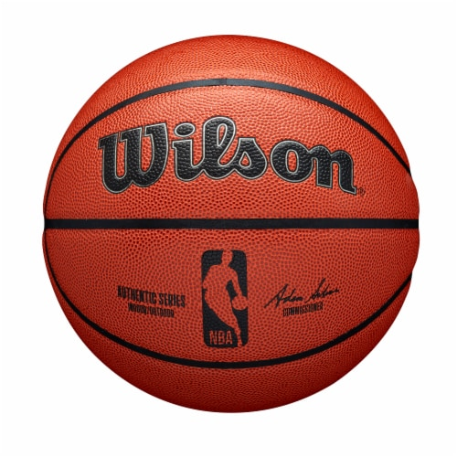Wilson Sporting Goods NBA Authentic Indoor/Outdoor Intermediate Size Basketball - Orange/Black Perspective: front