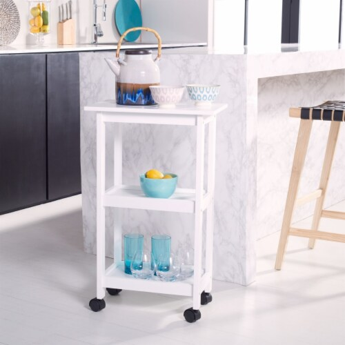 Bevin 2 Shelf Kitchen Cart White Perspective: front