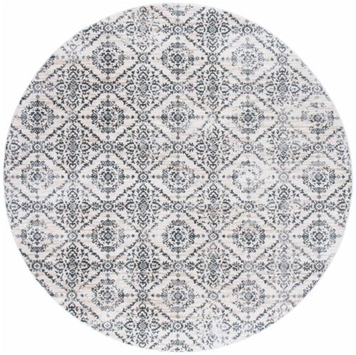 Martha Stewart Collection Isabella Round Rug - Cream/Gray Perspective: front