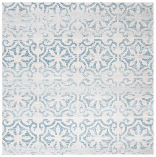 Martha Stewart Isabella Round Rug - Denim Blue/Ivory Perspective: front