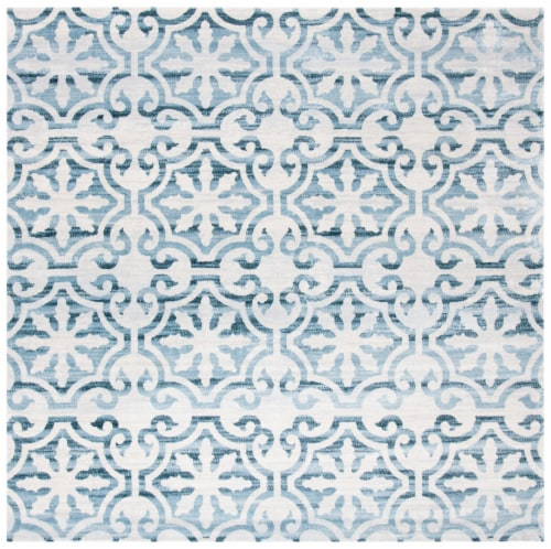 Martha Stewart Collection Isabella Square Rug - Navy/Ivory Perspective: front