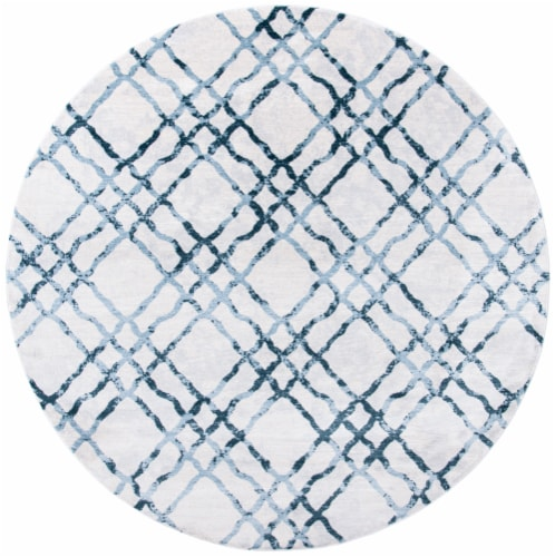 Martha Stewart Isabella Round Rug - Ivory/Turquoise Perspective: front