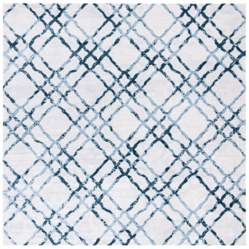 Martha Stewart Isabella Square Rug - Ivory/Turquoise Perspective: front