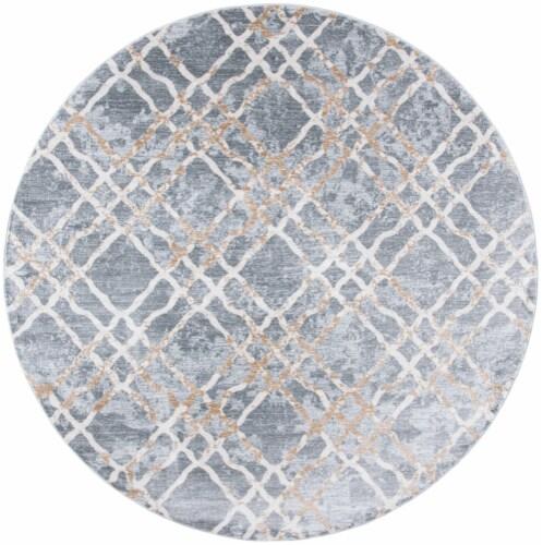 Martha Stewart Isabella Round Rug - Silver/Ivory Perspective: front