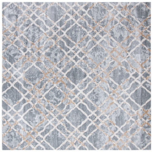 Martha Stewart Isabella Square Rug - Silver/Ivory Perspective: front