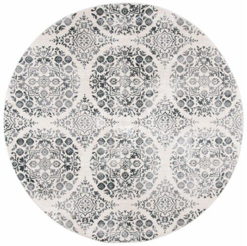 Martha Stewart Isabella Round Rug - Charcoal/Ivory Perspective: front