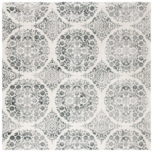 Martha Stewart Isabella Square Rug - Charcoal/Ivory Perspective: front