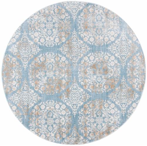 Safavieh Martha Stewart Isabella Round Rug - Denim Blue/Ivory Perspective: front
