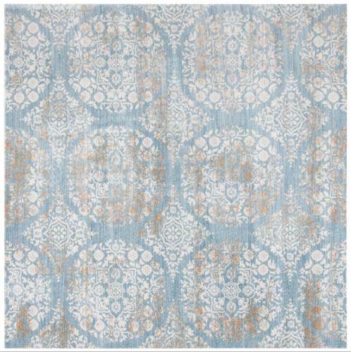 Martha Stewart Isabella Square Rug - Denim Blue/Ivory Perspective: front